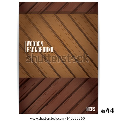 vector wooden background for brochure design. can be used for horizontal or vertical design - stock vector
