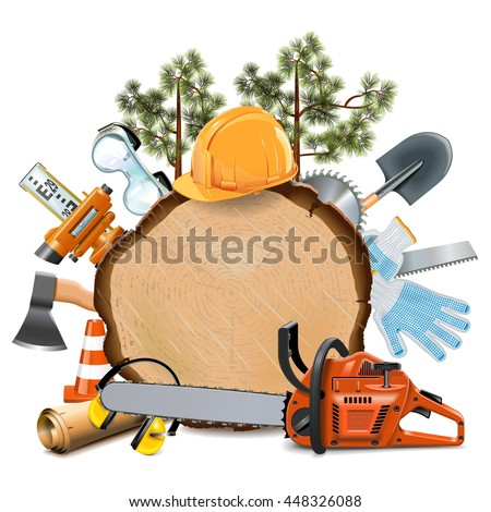 tool pouch clip art. vector wooden board with chainsaw tool pouch clip art