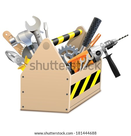 Vector Wooden Box with Tools - stock vector