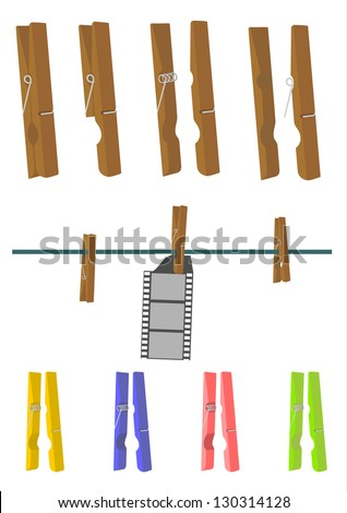 Vector. Wooden clothes peg on a white background. Separate top and bottom elements you can easily be combined by changing the angle or adding another element in between. - stock vector