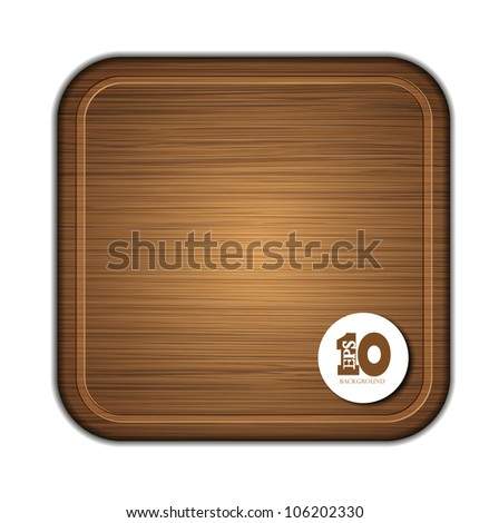 Vector wooden cutting board isolated on white background. Eps 10 illustration - stock vector
