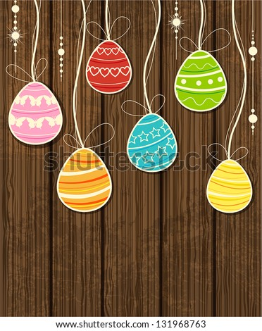 Vector wooden Easter background with decorative egg