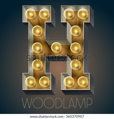 Vector wooden electric light up lamp alphabet in hard font. Letter H