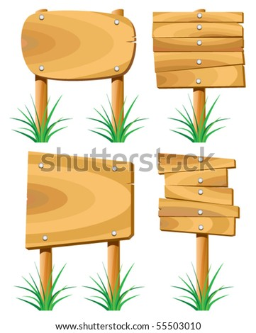 vector wooden elements and grass - stock vector