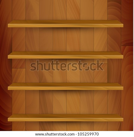 Vector wooden empty realistic bookcase illustration - stock vector