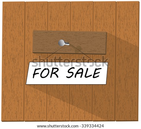 Vector wooden fence and a sign saying For sale, isolated over white background vector illustration - stock vector