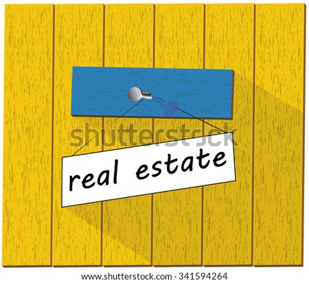 Vector wooden fence and a sign saying Real estate, isolated over white background vector illustration - stock vector