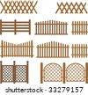 Vector wooden fences - stock photo