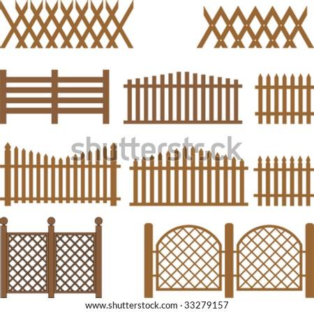 Vector wooden fences - stock vector