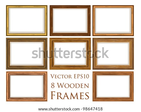 Vector wooden frame set. - stock vector