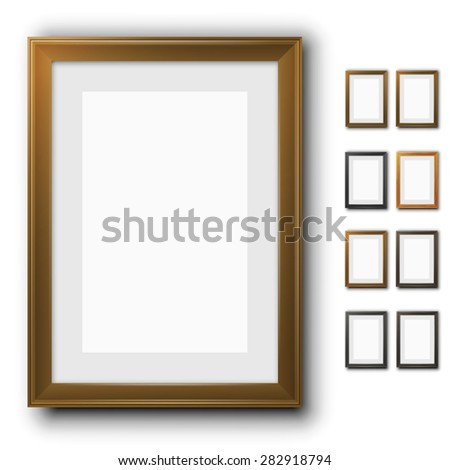 Vector wooden frames for pictures.  Different design and colors collection of vector images. A3, A4 and other A format proportion.  - stock vector