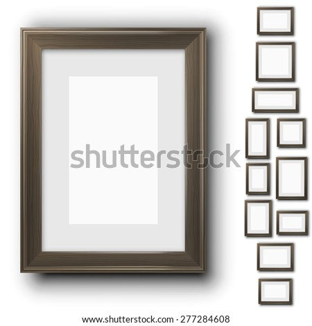 Vector wooden frames for pictures.  Different size and proportion collection - stock vector