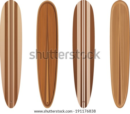 vector wooden long surfboards - Separate layers for easy editing - stock vector