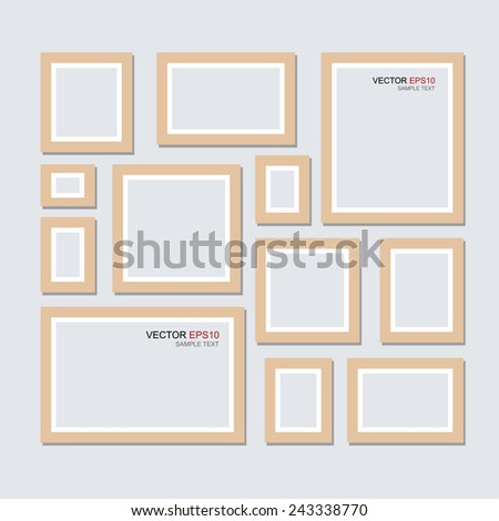 Vector wooden picture frame for photo art gallery. - stock vector