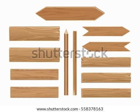 Vector wooden planks isolated on white background. Collection of old texture wood arrow illustration.