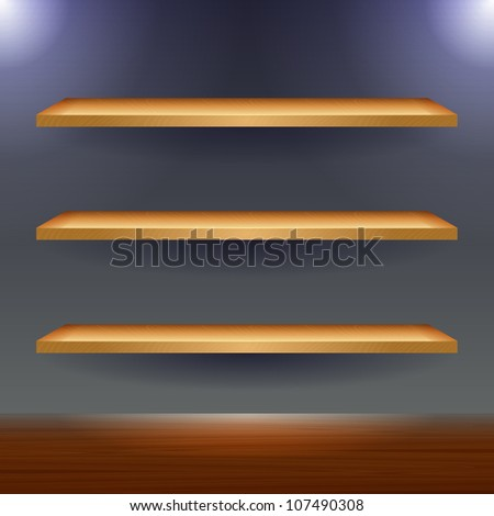 Vector wooden shelves