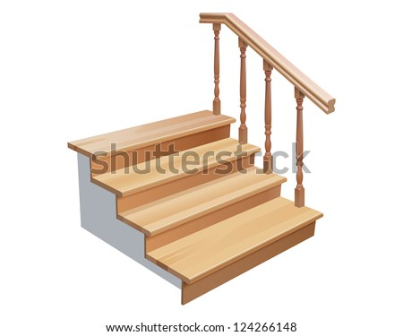 vector wooden stairs cross section on white background, gradient mesh and transparency used - stock vector