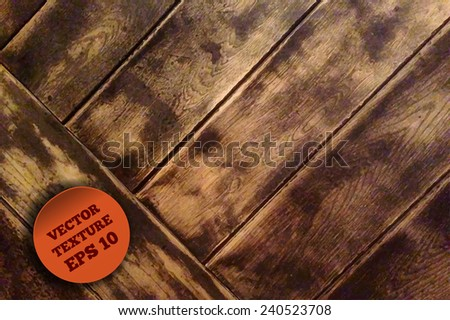 Vector wooden texture with red round label. Perfect background for your design, - stock vector