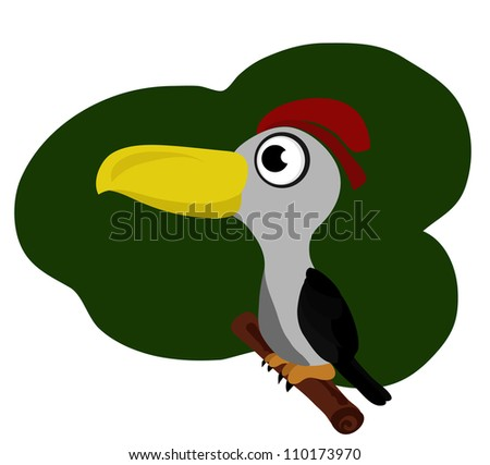 Vector - Woodpecker cartoon. - stock vector