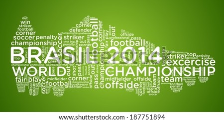 Vector word cloud concept of football boots on green background
