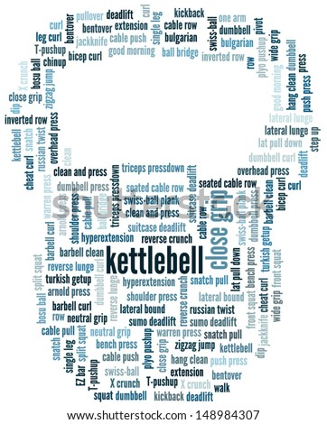 Vector word cloud in the shape of a, kettlebell illustrating terms related to sports and recreation and gym exercises. Raster also available.