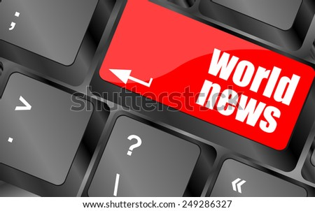 vector words world news on computer keyboard key