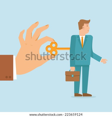 Vector work concept in flat style - hand turns on clockwork on the businessman - stock vector