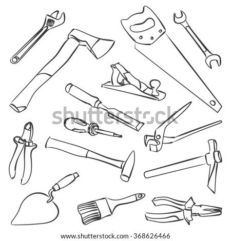 Saw Icon Hand Isolated Symbol Vector 374493589 additionally 452664019 likewise Drawing hammer tools further Stock Image Vector Vintage Film Camera Isolated White Background Image30579401 also Vector Work Tools Stock Illustration Coloring 368626466. on carpentry manual
