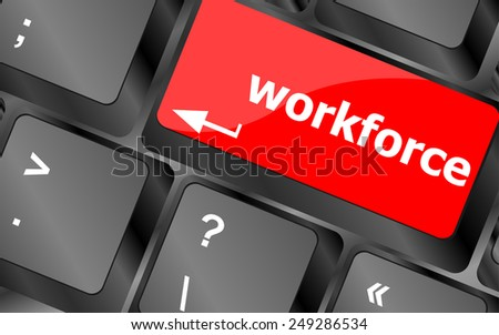 vector Workforce keys on keyboard - business concept - stock vector
