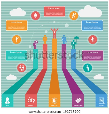 vector world business infographics, silhouettes of people on diagram - stock vector