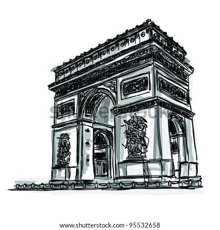 Vector World famous landmark collection : Arc de Triomphe, Paris, France - stock vector