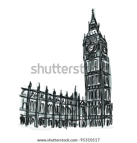 Vector World famous landmark collection : Big Ben London, England - stock vector