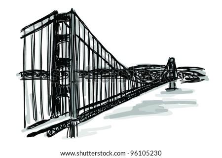 Vector World famous landmark collection : Golden Gate Bridge, San Francisco, USA - stock vector