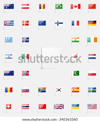 Vector world flags collection. 37 detailed high quality glossy icons. White flag blank template. - stock vector