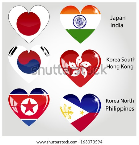 Vector - World Flags in Heart Shape, Set Glossy Button .good for: icon, button, design, decoration, symbol. Asia - stock vector