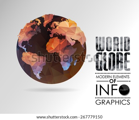 Vector world globe, 3d triangular map of the earth. Modern elements of info graphics. World Map - stock vector