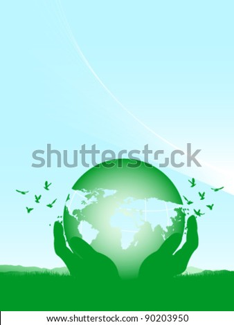 Vector world globe in hands on a green field and flying birds - stock vector