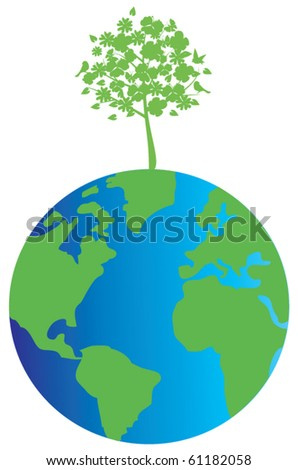 vector world globe with a green tree - stock vector