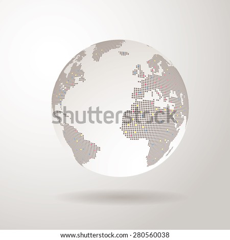 vector world globe with dots - stock vector