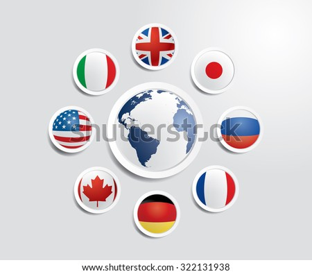 Vector world globe with flags of G8 countries.