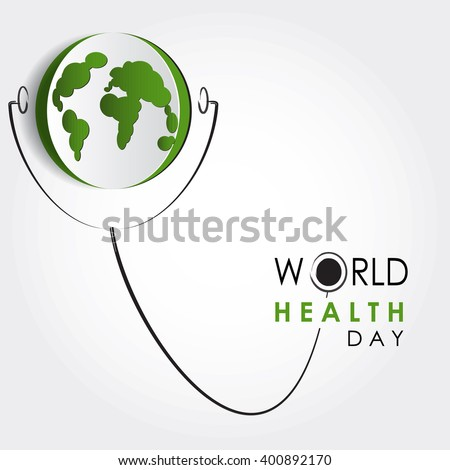 Vector world health day design concept. Cut out Earth illustration with stethoscope. Medical care. Template for poster, banner, advertisement, cover, creative card. Notch out symbols.Medicine idea - stock vector