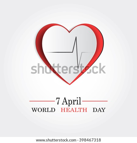 Vector world health day design concept. Cut out heart cardiogram illustration. Medical care. Template for poster, banner, advertisement, clear form, creative card. Notch out symbols.Medicine idea - stock vector