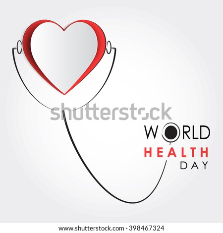 Vector world health day design concept. Cut out heart illustration with stethoscop. Medical care. Template for poster, banner, advertisement, clear form, creative card. Notch out symbols.Medicine idea - stock vector