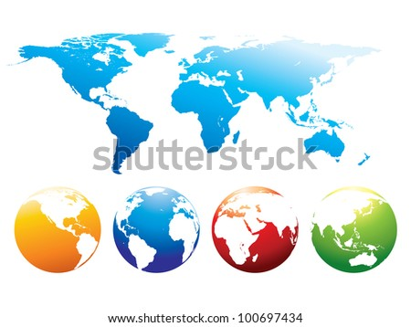 Vector world map. - stock vector