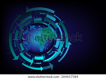 Vector world map background graphics and text