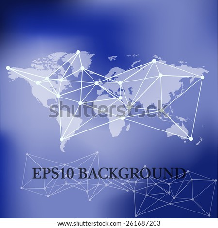 Vector World Map background with blue blur background
