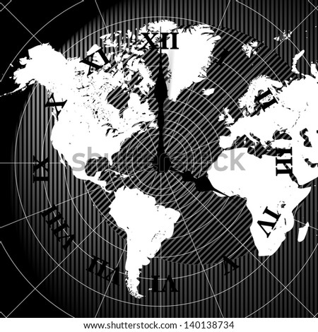 Vector world map clock background  - stock vector