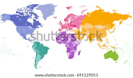 Vector world map colored by continents stock vector 691529053 vector world map colored by continents gumiabroncs Images