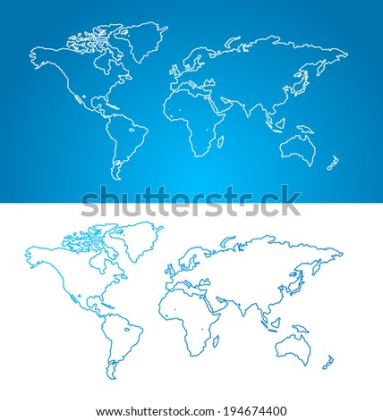 Vector world map concept. Contour, bue and white - stock vector
