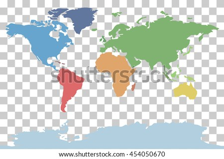 Vector World Map Continents - stock vector